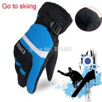 Brand Winter Warm Head Ski Gloves men waterproof Full Finger Thermal mountain skiing snowboard Below Zero bike Wind stopper