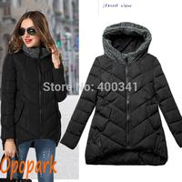2014 new women fashion winter coat cotton padded jackets outerwear causal warm parka black drop shipping ST200