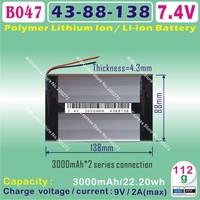 [B047] 7.4V,3000mAH,[4388138] PLIB ( polymer lithium ion battery ) Li-ion battery  for tablet pc,power bank,cell phone,speaker