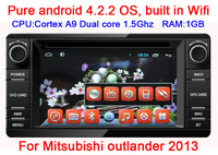 Free shipping Android 4.2 Car DVD For Mitsubishi outlander 2013 Capacitive screen GPS Radio RDS IPOD TV CANBUS WIFI 3G