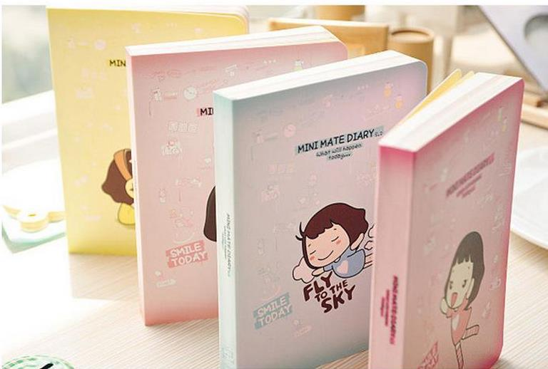 Kawaii Cute girl Candy color mini mate diary cook shop schedule planner notebook notepad monthly weekly organizer(China (Mainland))