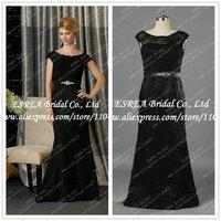 Short Sleeve Charming Black Mermaid Mother of the Bride Lace Dresses Real Photo T1209 Women Dress Evening Long Elegant