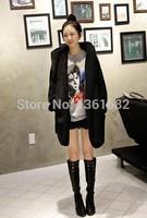 2014 Fashion Long hooded cape plush lamb coat thick cotton padded jacket+with belt E2022
