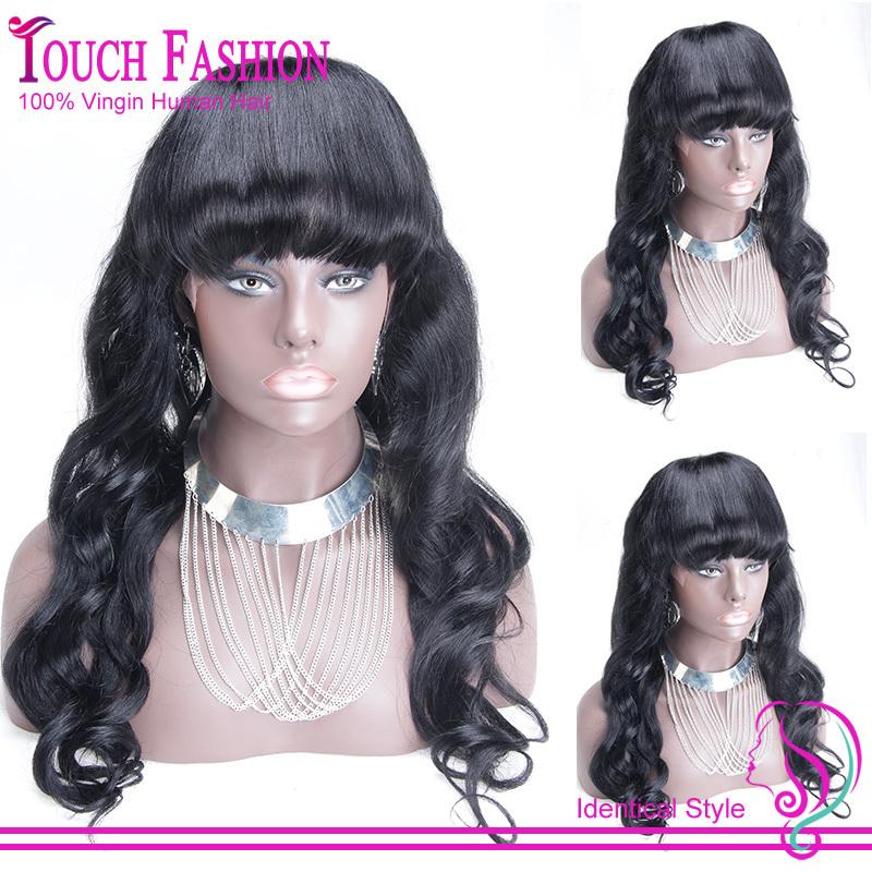100% Real Glueless Brazilian Loose Wave Full Lace Human Hair Wig Full bangs Long Virgin Hair Lace wig with bangs For Black Women(China (Mainland))