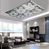 Modern Diamond LED Crystal Ceiling Light Square lustre de cristal light fitting Surface Mounted Crystal Light Fixture