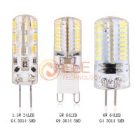 Silica Gel LED light Lamp Luz DC 12V 1.5W G4 smd 3014 220V 5W 6W G9 3014 smd led corn Bulb lampada led Light