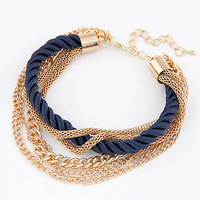 Wholesale 2014 New Fashion Bracelet Jewelry Multilayer Rope Gold Metal Chain Charm Bracelet For Women FB0250