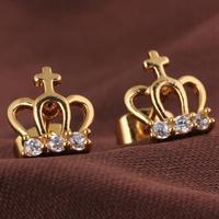 Fashion 2014 hot / new / green copper plating 18K Gold Earrings crown shaped earrings