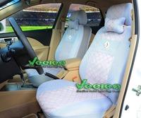 Logo+Universal Seat Cover For RENAULT Duster Scenic Clio Fluence Megane Laguna Espace Sandero Logan+Silk Material+Free Shipping