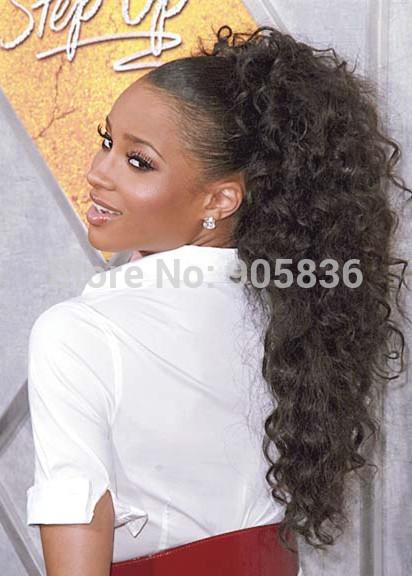 ... in high dark brown curly warp around human hair drawstring ponytails