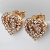 Fashion 2014 hot / new / green copper plating 18K Gold Earrings Sparkling heart-shaped Earrings