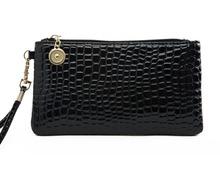 Nuevo en relieve de cocodrilo grano Cartera de cuero mujeres del mitón del bolso de señora Handbag Y Monedero Mujer billetera embrague del día WLHB2074(China (Mainland))