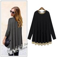 Clearance Autumn Brand Womens Plus Size Cotton Faux Two Piece Tshirts , loose Fashion Tops M-L-XL-2XL-3XL-4XL-5XL