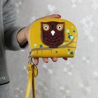 Cute Fashion Small Wallet Leather Women Wallet Zipper Women Handbag Owl Printing Christmas Gift Card Holder Purse Sv18 Cb031754