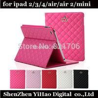 luxury pu leather crown diamond cover case for iPad mini iPad 5/air flip stand auto sleep holster for ipad 2/3/4  Free shipping