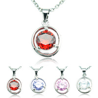 Wholesale Fashion Lady's Silver plated Crystal Round Necklace Shiny Pendants for Women Valentine's Day Gift DZ1976