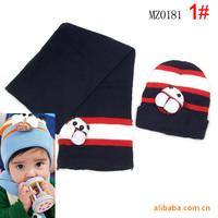 Winter Beanie Baby Hat Bee Pattern Child Cap Kids Boy Girl Knitted Cap & Scarf Set (1 hat+1scar