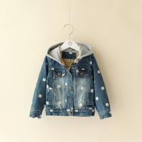 Children's clothing child winter cotton-padded jacket short design thermal  child girls cotton-padded jacket denim 103104
