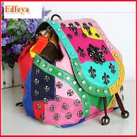Chain Bag 2015 Hot Fashion Women's Rivet Bucket Shoulder Bag Vintage Handbag Free Shipping Messenger Bag