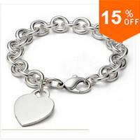 H268 New Arrival Sept.Fashion silver 925 Bracelet Bangle Silver Plated Heart Connected Circle Hoop Women Men Link Chain Bracelet
