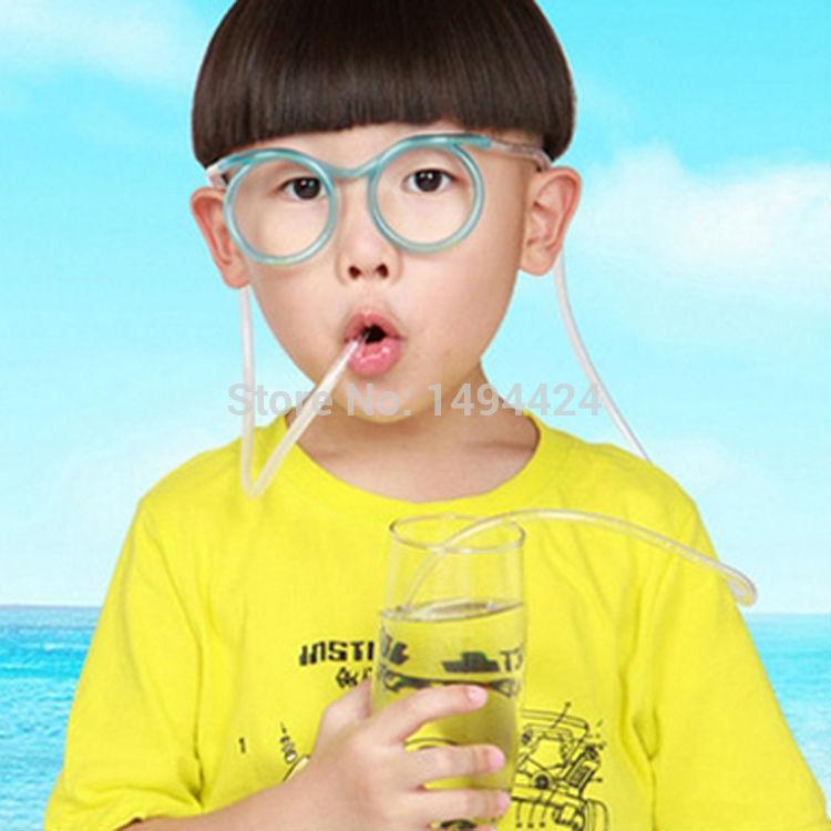 Wonderful Fashion Cartoon Crazy DIY Straw Creative Fun Funny Glasses Children's Wacky Toy Drinkware Household item Color Random(China (Mainland))