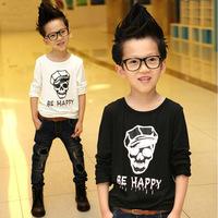 Free shipping Children's clothing Boys long-sleeved T-shirt bottoming shirt skull boy Autumn 2014 new Korean wave