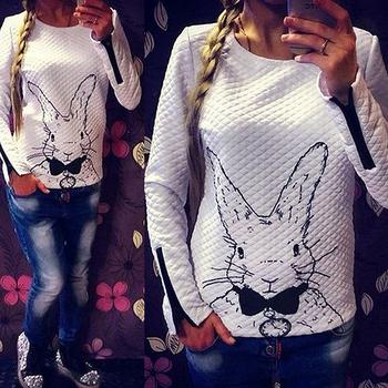 Fanshou бесплатная доставка 2014 женщин толстовка весна осень свободного покроя Sweatershirt женщины кролик печатные толстовки пуловеры с застежкой-молнией