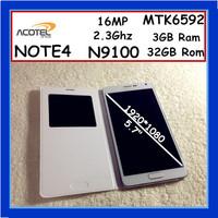 2014 Hot Sale Note4 MTK6592 Phone 2.3Ghz Octa core 3GB Ram 32GB Rom 13MP N9100 Phone Real 5.7 Inche1920*1080  Mobile Phone