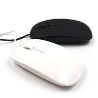 Hot selling Slim wired gaming optical mouse cable 1.1m long scroll computer PC black/white color elegant mice ,free shipping