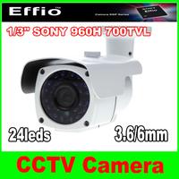 "1/3"" Sony Effio-e CCD 700TVL 24pcs IR leds waterproof Outdoor CCTV Camera with bracket"