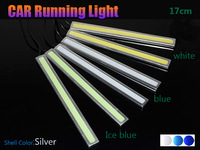 Silver shell color 18W 17cm Daytime Running light  Waterproof COB Day time Lights LED Car DRL Driving lamp 2pcs/lots