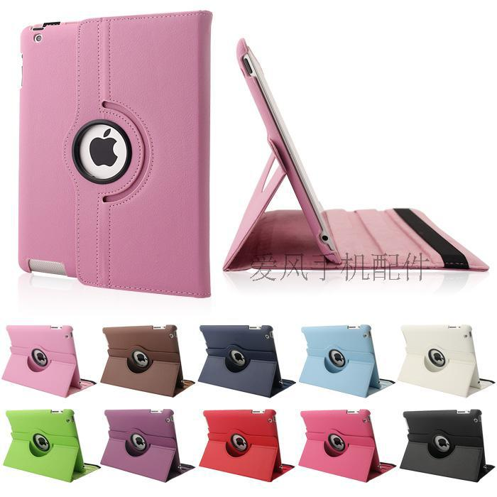 New! Flexible Ultra Thin Flip Leather 360 Rotating Cases For Apple iPad2 3 4 Fashion Smart Stand Leather Cover For ipad 2 4(China (Mainland))