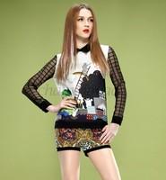 2014 Blusas T Shirt Printed Women Clothing Chiffon Blouses casual plus size Tops Patchwork Autumn Long Sleeve Drop Shipping B16