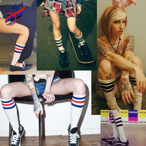 Flying- Hot Selling Long Women Cotton Knee High Sock Harajuku Style Vintage Female 3 Stripe Socks Hip Hop Sports Sock Calcetines(China (Mainland))