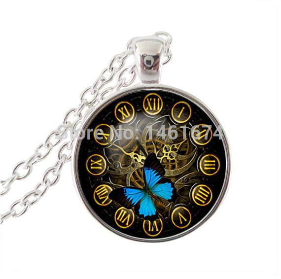 fashion butterfly pendant necklace steampunk clock art pendant necklace silver chain necklace art photo glass cabochon necklace(China (Mainland))