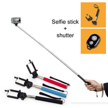 Hot Selfie Stick with Clamp+Bluetooth Remote Shutter Self-timer for Self Photo Taking Monopod Home Travel Necessary