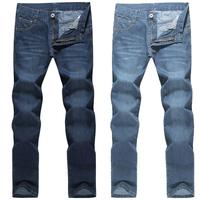 Korean Men Jeans Fashion Casual Leisure Straight Thicken Denim Slim Zipper Men Full Trousers Pleated Cotton Fabric Jeans 1651