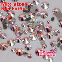 Nail Art Rthinestone Mix Sizes Crystal AB Color Non Hotfix Flatback Rhinestone DIY Nail Decoration Crystal Stones 1200pcs/bag