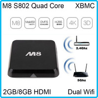 DDR3 2GB/8GB Andriod 4.4 Kitkat XBMC Pre-installed M8 TV BOX  Quad Core HDMI Dual Wifi Band 2.4/5.0Ghz Bluetooth 4.0 Free ship