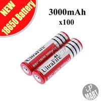 FS! 3.7V Ultrafire Battery 18650 3000mAh  Li-lon Battery Rechargeable Battery (Red) for LED flashlight 100pcs/lot