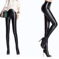fashion Faux leather leggings women 2014 Autumn-winter warm black High-waist stretch pencil pants plus size legging woman m/l/xl