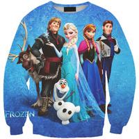 Digital Printing FROZEN Snow Magic Loose Hoodies Sweater Womens Tops Hedging Sweatershirt Pullover Casual Saia Feminina