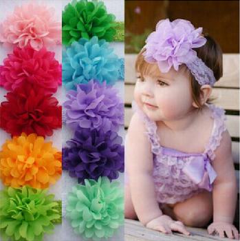 Hair Accessories Baby Girls Lace Headband Baby Chiffon Flower hairband Infant girl Hair Weave band childern hair clips