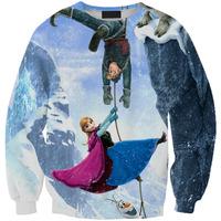 Digital Printing Loose Hoodies Sweater Women Frozen Anna Hoodies Tops Shirts Pullover Clothes Sweatershirt Casual Saia Feminina