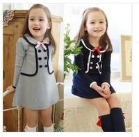 2014 Girls College Wind long-sleeved dress fake two dress girl kid dress autumn winter free shipping