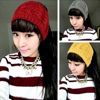 10pcs/lot New Style Solid Color Twist Women Knitted Headband Fashion Winter Headwrap Wide Wool Crochet Lady Girl Headbands