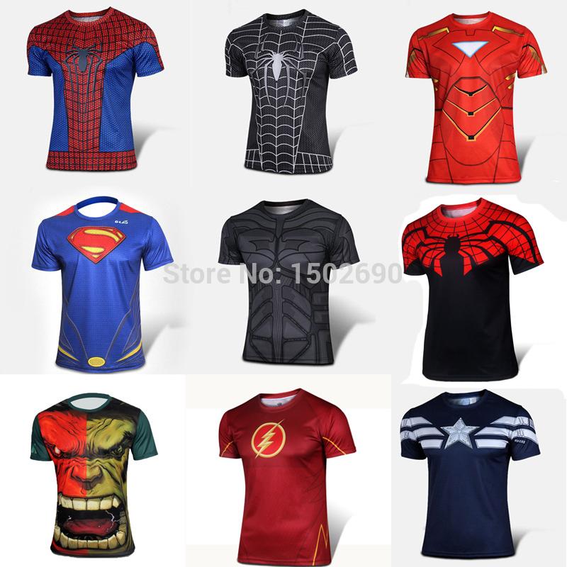 Batman Spiderman Venom Ironman Superman Captain America Winter soldier Marvel T shirt Avengers Costume DC Comics Superhero mens(China (Mainland))