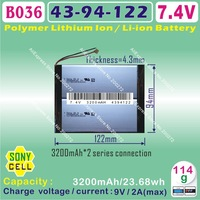 [B036] 7.4V,3200mAH,[4394122] PLIB ; polymer lithium ion battery /  Li-ion battery (SONYY cell) for TABLET PC,power bank,E-BOOK