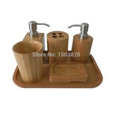 Badasa 6 pcs /set Eco-Friendly Bamboo Bathroom Set Collection Bathroom Accessories(China (Mainland))