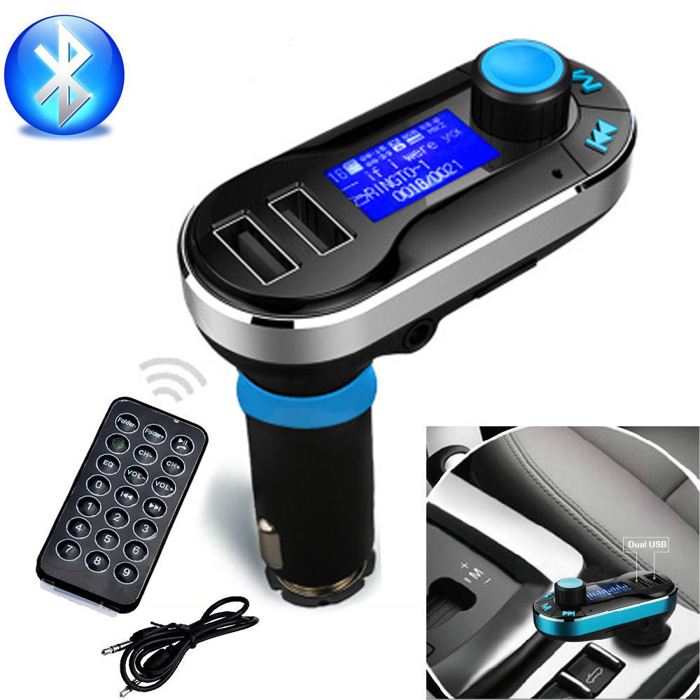 New Hot Sale Bluetooth Car Kit MP3 Player FM Transmitter SD Dual USB Charger Silver and Blue Color(China (Mainland))